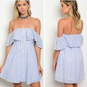 Striped Ruffle Of The Shoulder Dress